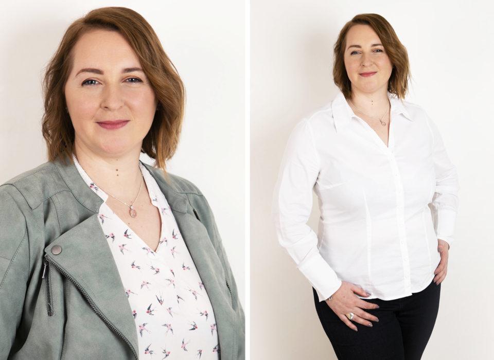portrait de femme corporate sur fond blanc