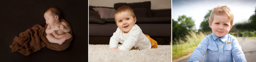 évolution d'un enfant , de nouveau né à petit garçon.