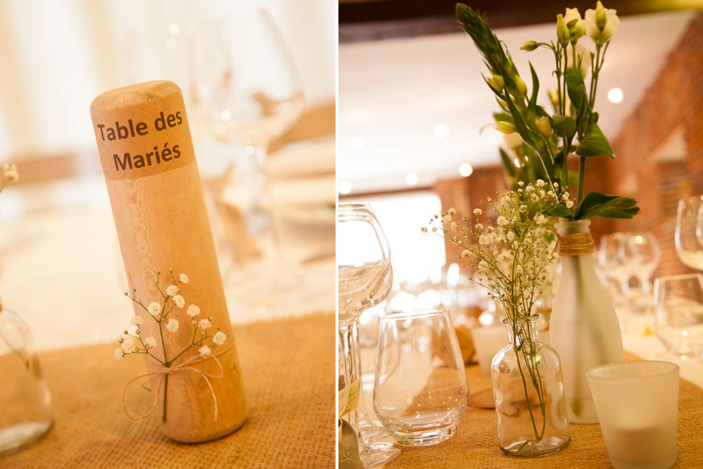 la centre de table en boisd'un mariage  au Clos de la Conciergerie