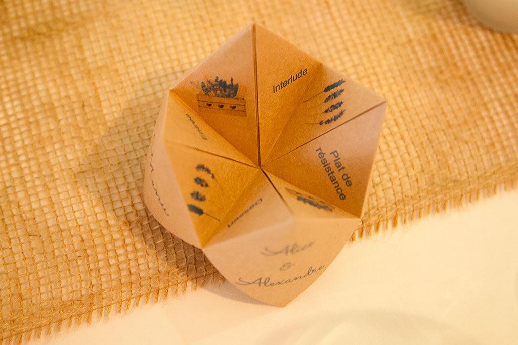 le menu d'un mariage au Clos de la Conciergerie