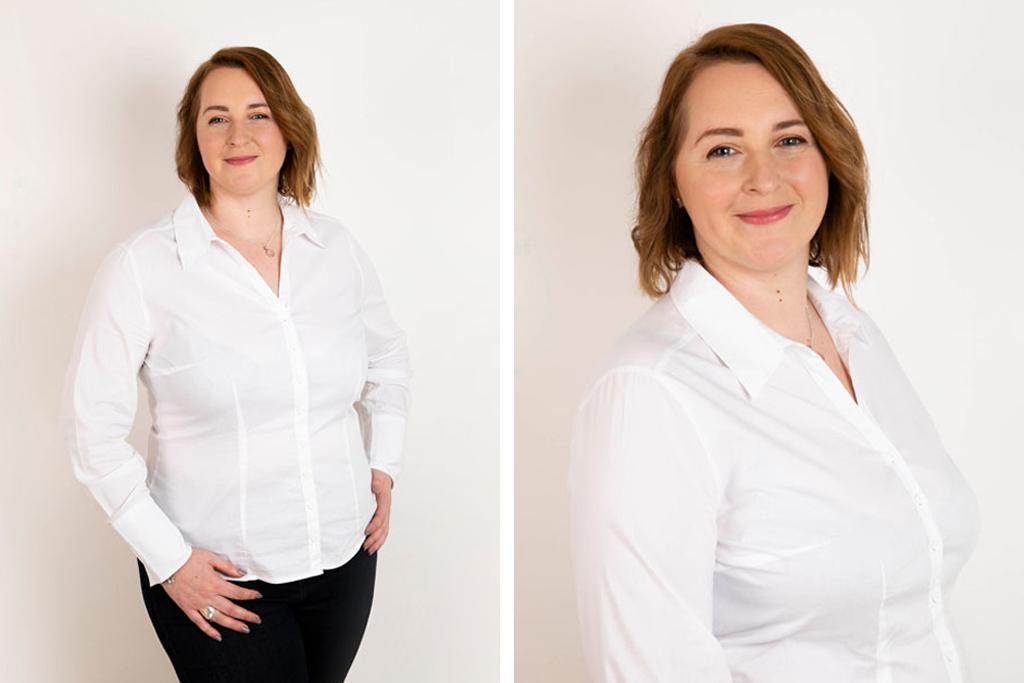 portrait de femme sur fond blanc en studio