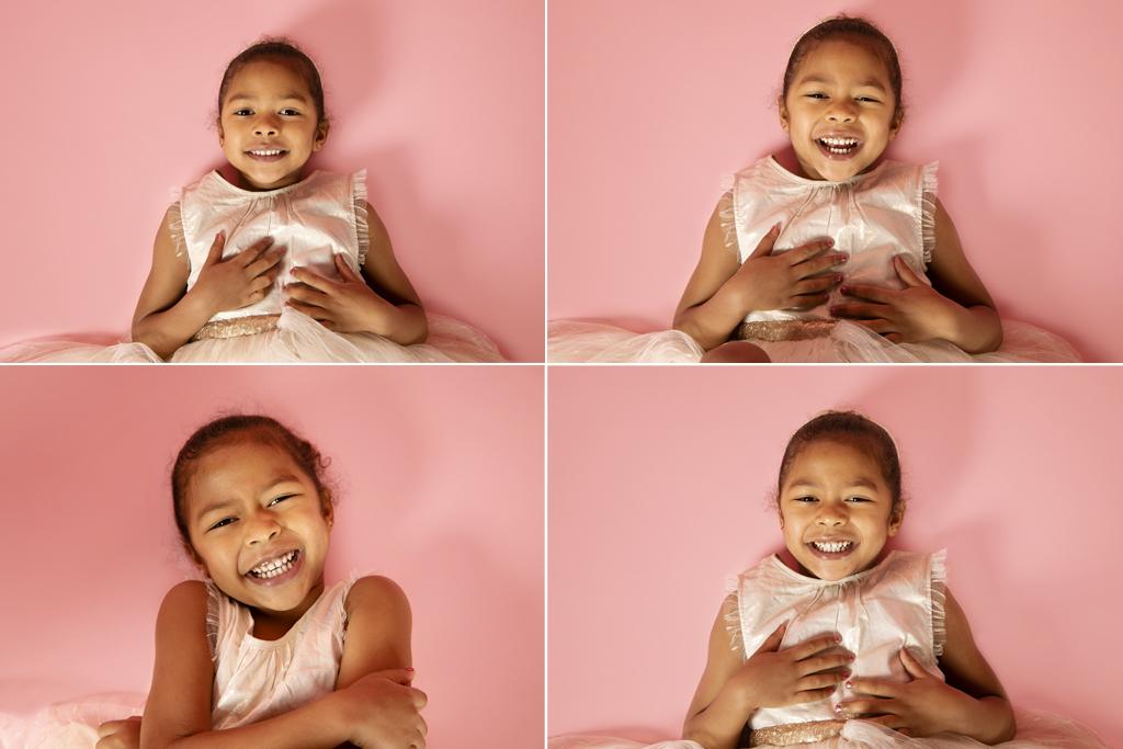 photo enfants fond rose.