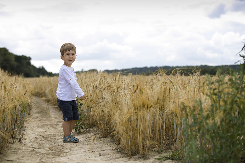 un petit garçon jouant dans un champs de blé