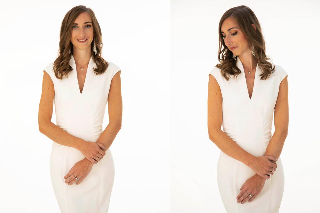 portrait de femme en robe blanche sur fond blanc