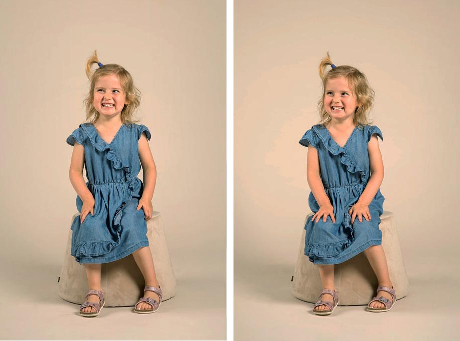 photo en studio d'une petite fille assise sur un tabouret