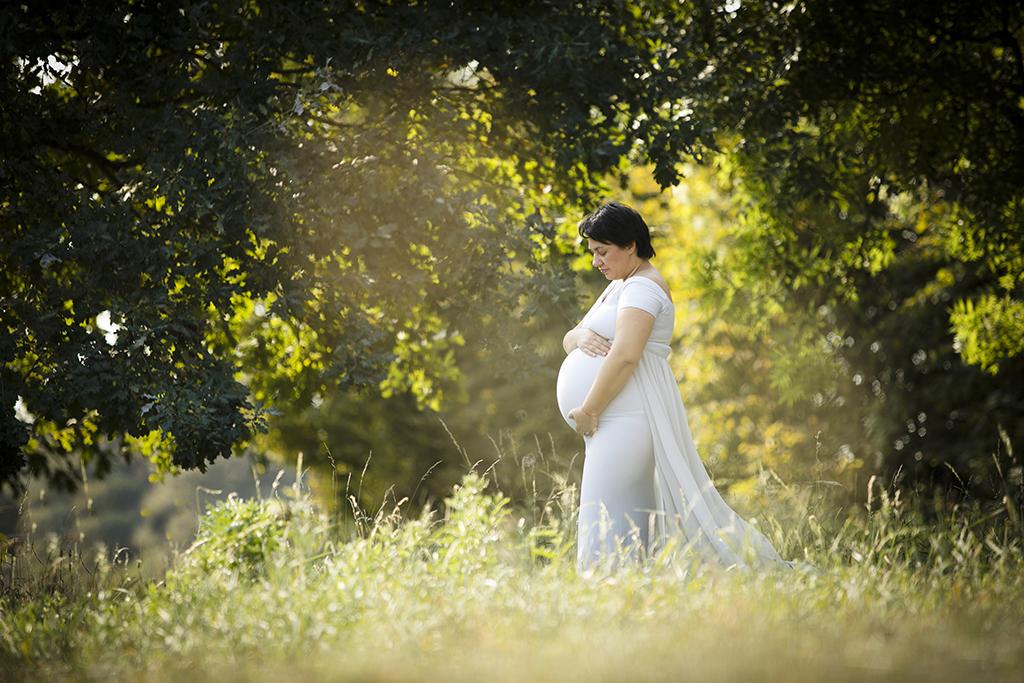 photo de grossesse dans un parc avec un robe bleue